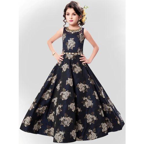 Wommaniya Impex Girls Maxi/Full Length Party Dress(Blue, Sleeveless)