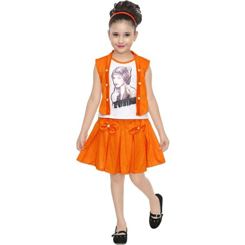FTC FASHIONS Girls Midi/Knee Length Casual Dress(Multicolor, Sleeveless)