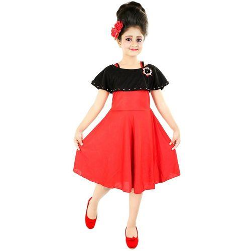 Style Junction Girls Midi/Knee Length Party Dress(Red, Sleeveless)