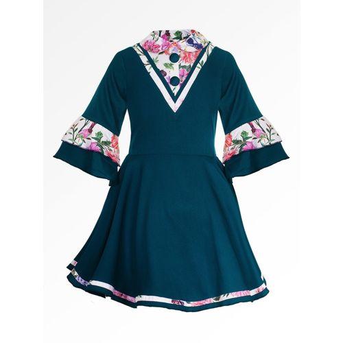 Naughty Ninos Girls Midi/Knee Length Casual Dress(Green, Half Sleeve)