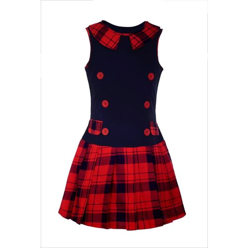 Naughty Ninos Girls Midi/Knee Length Casual Dress(Red, Sleeveless)