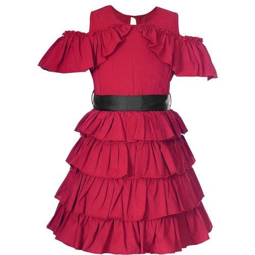 Naughty Ninos Girls Midi/Knee Length Casual Dress(Maroon, Sleeveless)