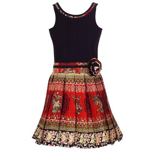 Naughty Ninos Girls Midi/Knee Length Casual Dress(Multicolor, Sleeveless)