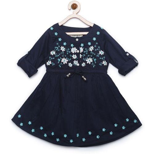 Bella Moda Girls Midi/Knee Length Casual Dress(Blue, Roll-up Sleeve)