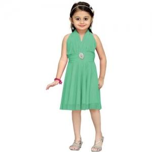 Aarika Girls Midi/Knee Length Party Dress(Green, Sleeveless)