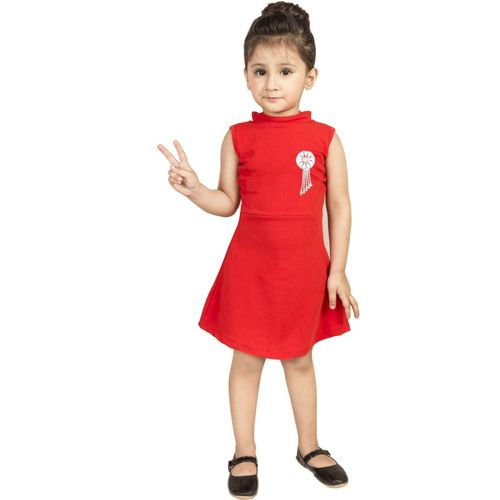 Addyvero Girls Midi/Knee Length Party Dress(Red, Sleeveless)