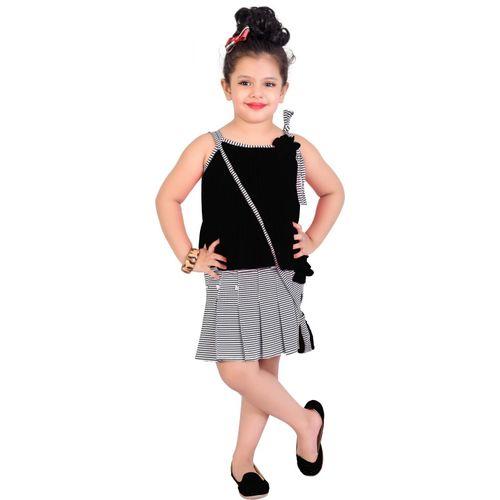 Ziva Fashion Girls Midi/Knee Length Casual Dress(Black, Sleeveless)