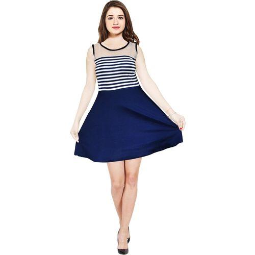 AD & AV Girls Mini/Short Casual Dress(Blue, Sleeveless)