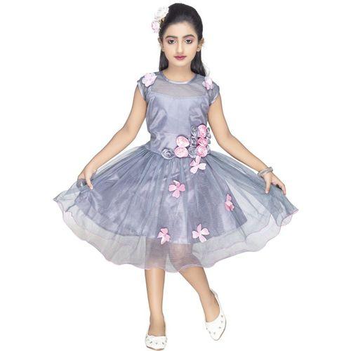 new gen Indi Girls Midi/Knee Length Casual Dress(Silver, Sleeveless)