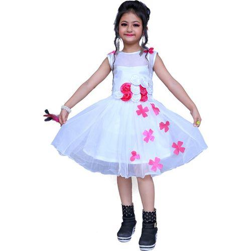Lakshu Fashions Girls Midi/Knee Length Festive/Wedding Dress(White, Sleeveless)