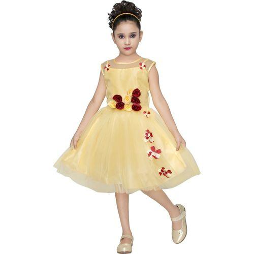 YAYAVAR Girls Below Knee Party Dress(Beige, Short Sleeve)