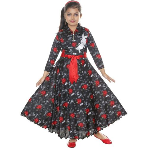 MRM CREATION Girls Maxi/Full Length Party Dress(Black, 3/4 Sleeve)