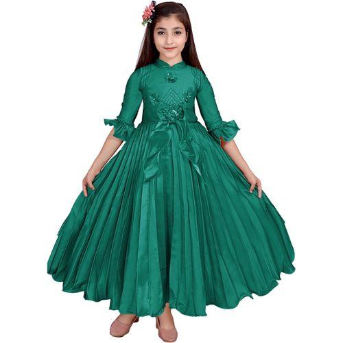 Safina Collection Girls Maxi/Full Length Festive/Wedding Dress(Dark Green, Fashion Sleeve)