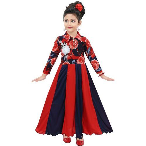 Chandrika Girls Maxi/Full Length Casual Dress(Red, 3/4 Sleeve)