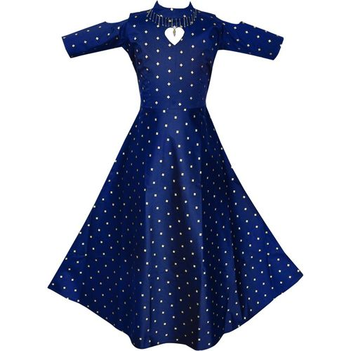Fashion Dream Indi Girls Maxi/Full Length Party Dress(Blue, 3/4 Sleeve)