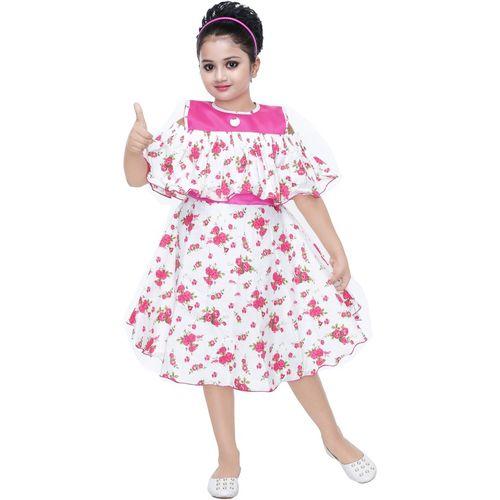 smartbazar Girls Midi/Knee Length Casual Dress(Multicolor, Fashion Sleeve)