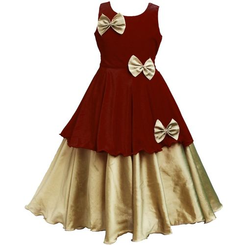 MVD Fashion Indi Girls Maxi/Full Length Festive/Wedding Dress(Maroon, Sleeveless)
