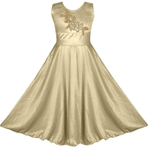 Fashion Dream Indi Girls Maxi/Full Length Party Dress(Beige, Sleeveless)