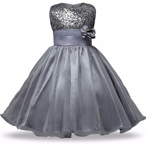 GOODY`S Girls Maxi/Full Length Party Dress(Silver, Sleeveless)