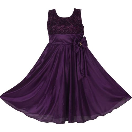 Clobay Girls Maxi/Full Length Party Dress(Purple, Sleeveless)