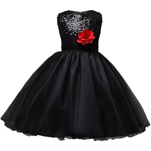 Anvi Jewellers Girls Midi/Knee Length Casual Dress(Black, Sleeveless)