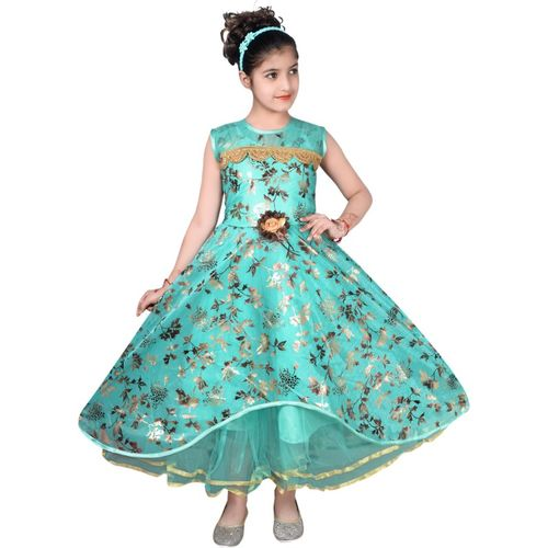 Tizarat Girls Maxi/Full Length Festive/Wedding Dress(Multicolor, Sleeveless)