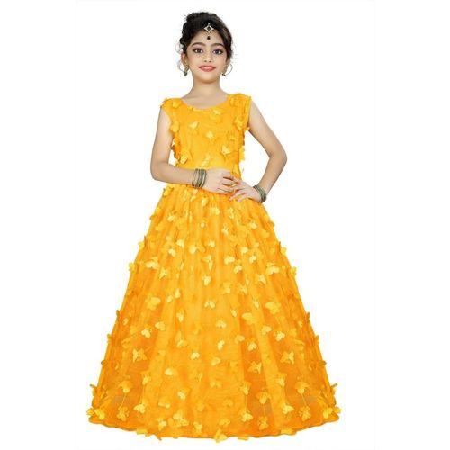 VR2ENTERPRISE Indi Girls Maxi/Full Length Festive/Wedding Dress(Yellow, Sleeveless)