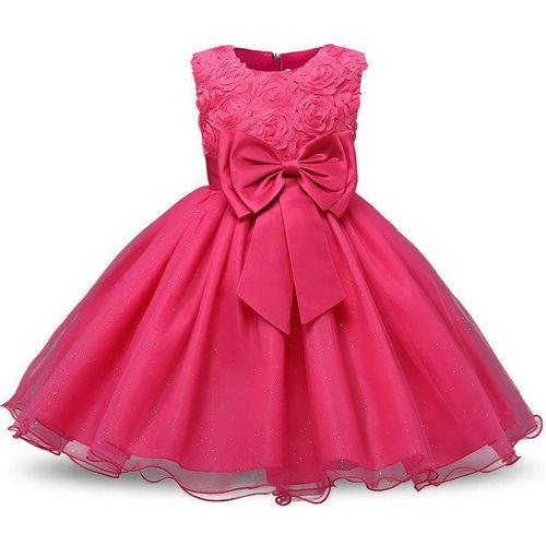 QIUSHOUNIAO Girls Midi/Knee Length Casual Dress(Pink, Sleeveless)