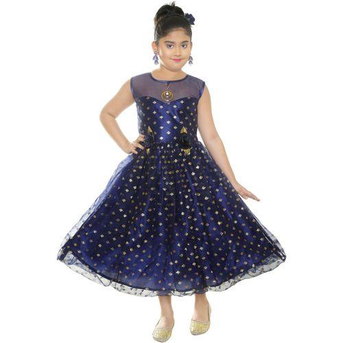 ZOOBA Girls Maxi/Full Length Party Dress(Dark Blue, Sleeveless)