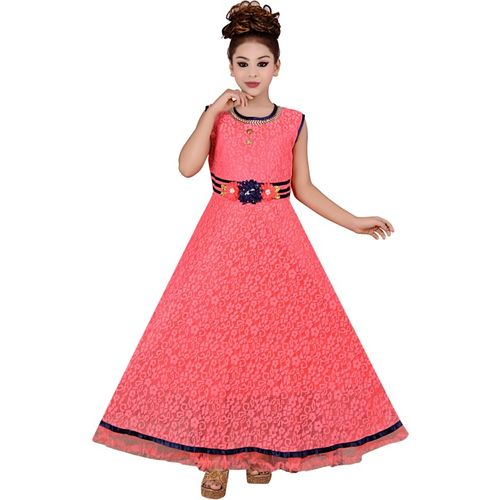 Safina Collection Girls Maxi/Full Length Party Dress(Red, Sleeveless)