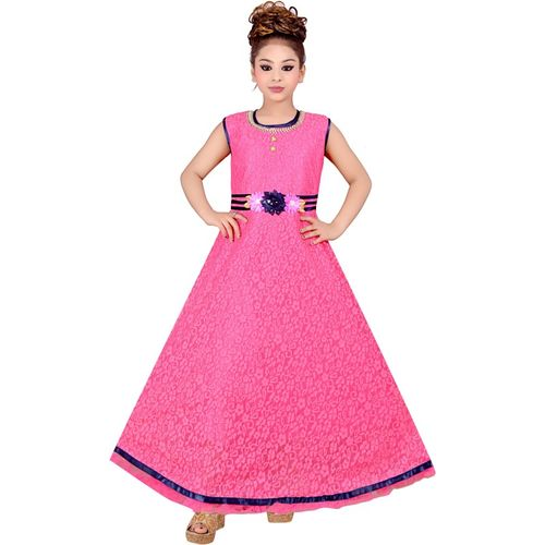 Safina Collection Girls Maxi/Full Length Party Dress(Pink, Sleeveless)