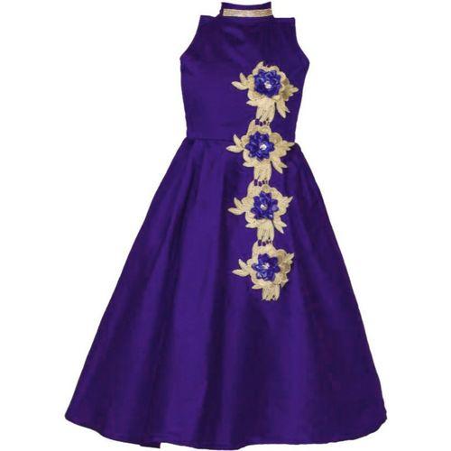 Bolly Lounge Girls Maxi/Full Length Party Dress(Purple, Sleeveless)
