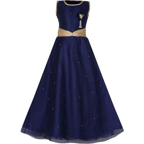 Tiny Toon Girls Maxi/Full Length Party Dress(Dark Blue, Sleeveless)
