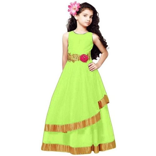 satyamfab Girls Maxi/Full Length Party Dress(Light Green, Sleeveless)