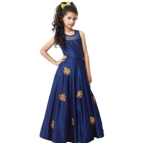 Sashay Boutique Girls Maxi/Full Length Party Dress(Blue, Sleeveless)
