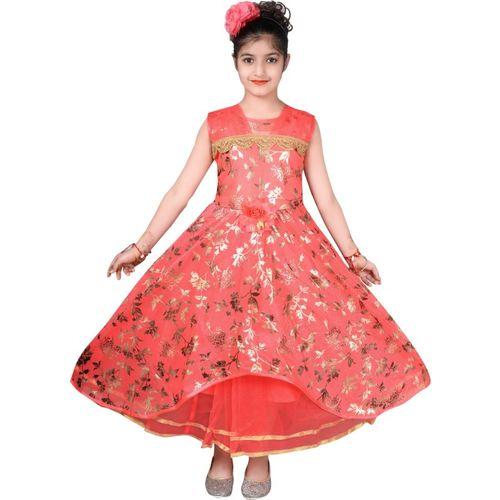 Tizarat Girls Maxi/Full Length Festive/Wedding Dress(Red, Sleeveless)