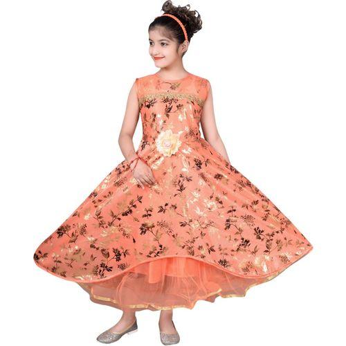 Tizarat Girls Maxi/Full Length Festive/Wedding Dress(Orange, Sleeveless)
