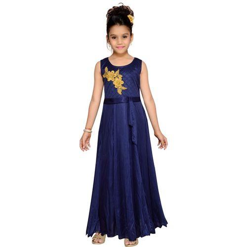 Kidling Girls Maxi/Full Length Party Dress(Blue, Sleeveless)