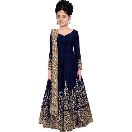 MF Retail Girls Maxi/Full Length Casual Dress(Dark Blue, Full Sleeve)