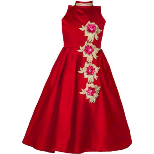 Bolly Lounge Girls Maxi/Full Length Party Dress(Red, Sleeveless)