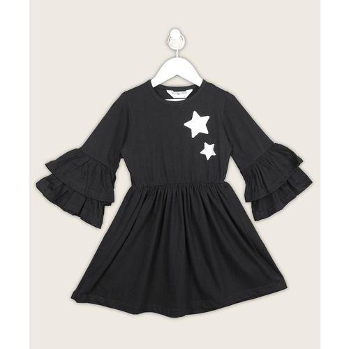 Miss & Chief Girls Short/Mid Thigh Casual Dress(Black, Fashion Sleeve)