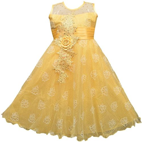 AD & AV Girls Midi/Knee Length Party Dress(Gold, Sleeveless)