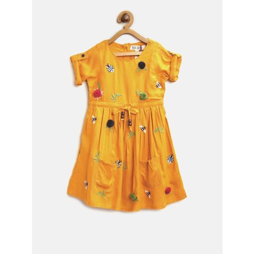Bella Moda Girls Midi/Knee Length Casual Dress(Yellow, Half Sleeve)