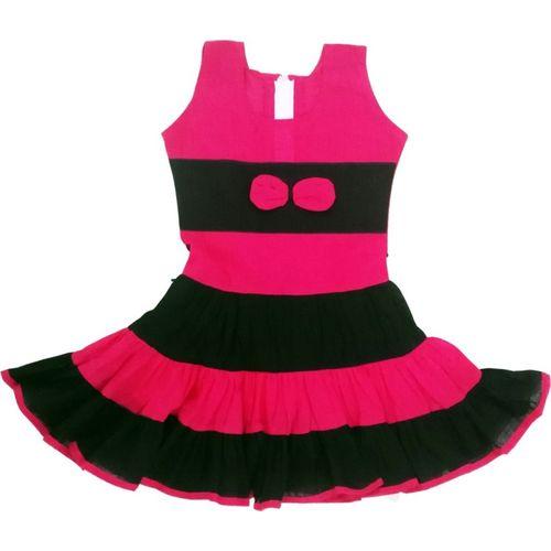 Flora Girls Midi/Knee Length Casual Dress(Pink, Sleeveless)