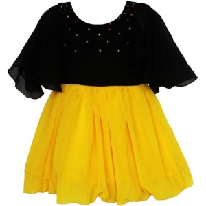 MVD Fashion Girls Midi/Knee Length Party Dress(Yellow, Fashion Sleeve)