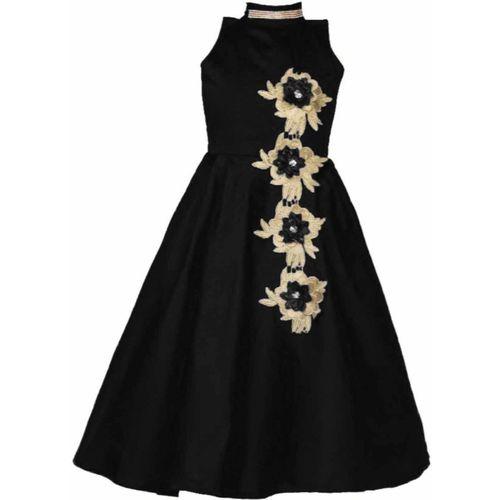Bolly Lounge Girls Maxi/Full Length Party Dress(Black, Sleeveless)