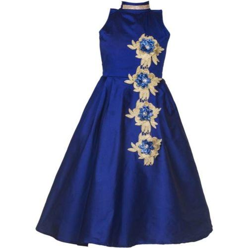 Fresh@Fashion Girls Maxi/Full Length Party Dress(Blue, Sleeveless)