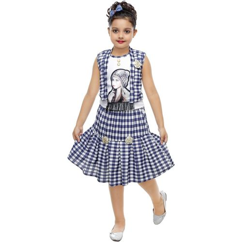 FTC FASHIONS Girls Midi/Knee Length Party Dress(Blue, Cap Sleeve)