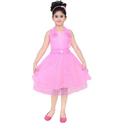 YAYAVAR Girls Girls Midi/Knee Length Party Dress(Pink, Sleeveless)