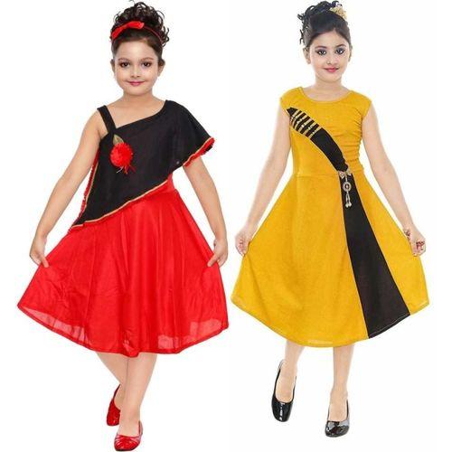 FTC FASHIONS Girls Midi/Knee Length Party Dress(Multicolor, Sleeveless)